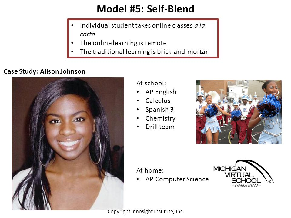 Model #5: Self-Blend Individual student takes online classes a la carte The online learning is remote The traditional learning is brick-and-mortar Case Study: Alison Johnson At school: AP English Calculus Spanish 3 Chemistry Drill team At home: AP Computer Science Copyright Innosight Institute, Inc.