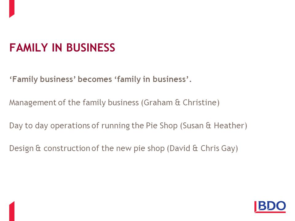 FAMILY IN BUSINESS 'Family business' becomes 'family in business'.