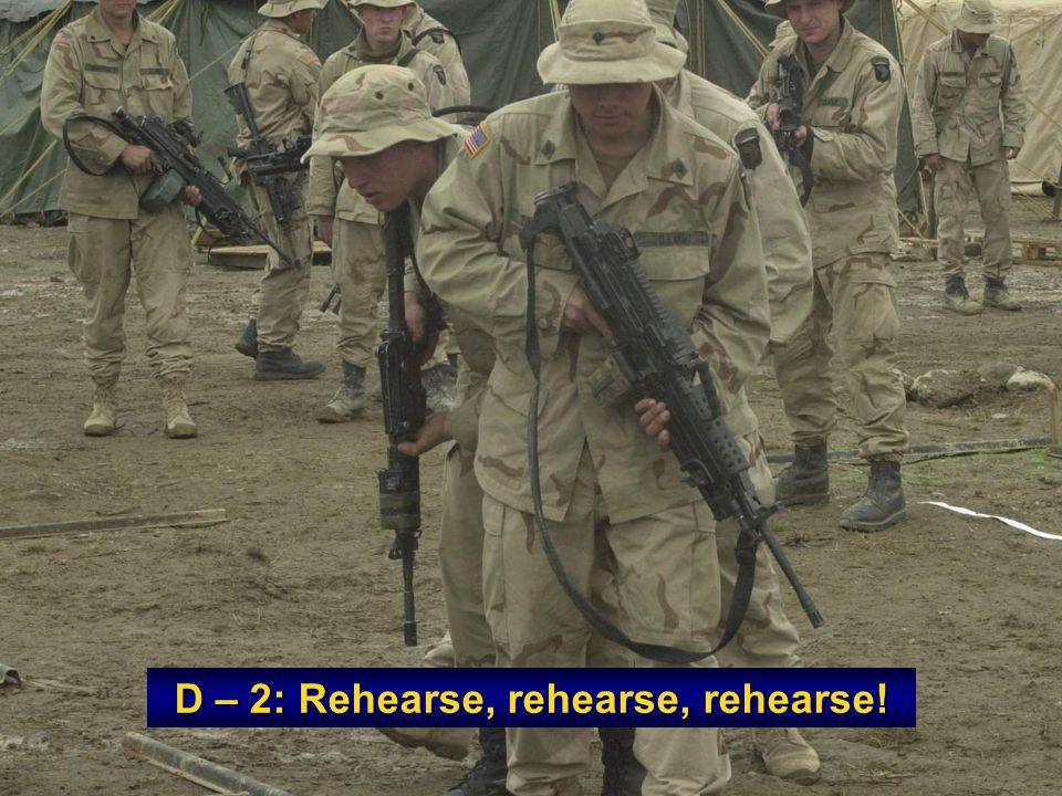 D – 2: Rehearse, rehearse, rehearse!
