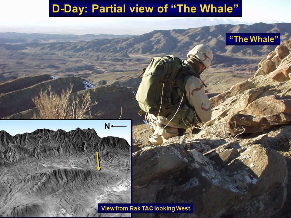 D-Day: Partial view of The Whale The Whale N View from Rak TAC looking West