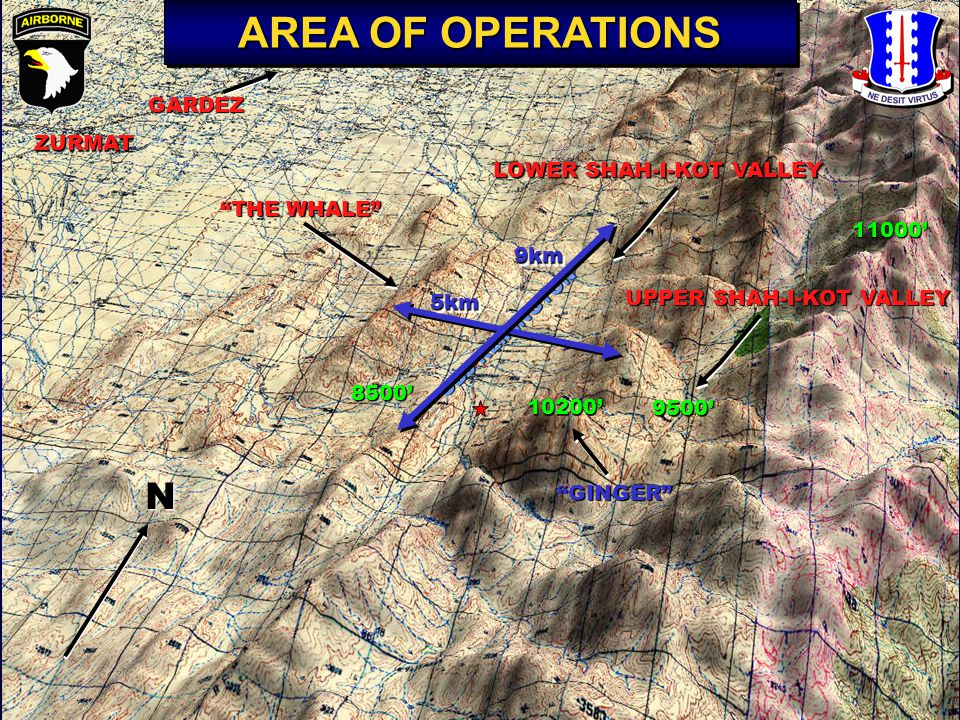 "ZURMAT ""THE WHALE"" 11000' UPPER SHAH-I-KOT VALLEY LOWER SHAH-I-KOT VALLEY 8500' 10200' OBJ REMINGTON ""GINGER"" N GARDEZ 9500' AREA OF OPERATIONS 5km5km"