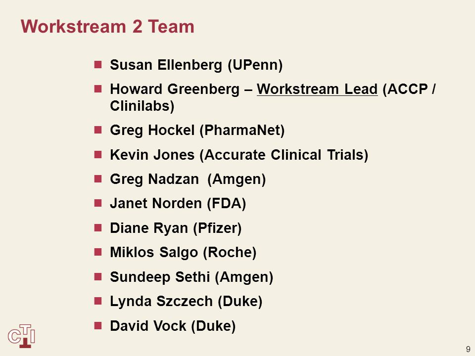 10 Workstream 3 Team  Suzanne Gagnon (ICON Clinical Research)  Heather Macy (Pfizer)  Rachpal Malhotra (Bristol-Myers Squibb)  Margaret McLaughlin (Pfizer)  Greg Nadzan (Amgen)  Leonard Sacks (FDA)  Sundeep Sethi (Amgen)  Lynda Szczech – Workstream Lead (Duke)  Jose Vega (Amgen)