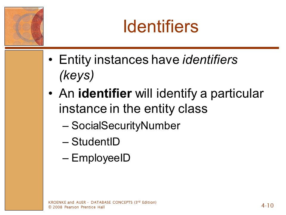 KROENKE and AUER - DATABASE CONCEPTS (3 rd Edition) © 2008 Pearson Prentice Hall 4-10 Identifiers Entity instances have identifiers (keys) An identifier will identify a particular instance in the entity class –SocialSecurityNumber –StudentID –EmployeeID