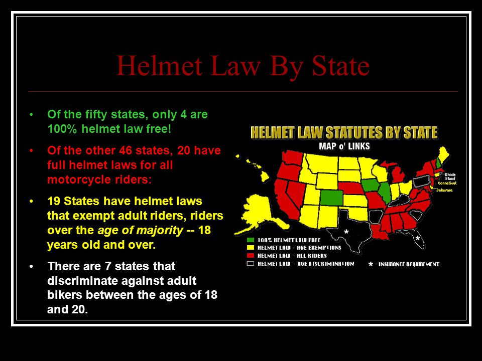 Helmet Law By State Of the fifty states, only 4 are 100% helmet law free.