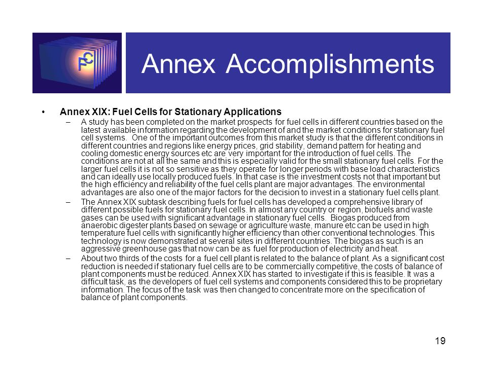 19 Annex Accomplishments Annex XIX: Fuel Cells for Stationary Applications –A study has been completed on the market prospects for fuel cells in different countries based on the latest available information regarding the development of and the market conditions for stationary fuel cell systems.