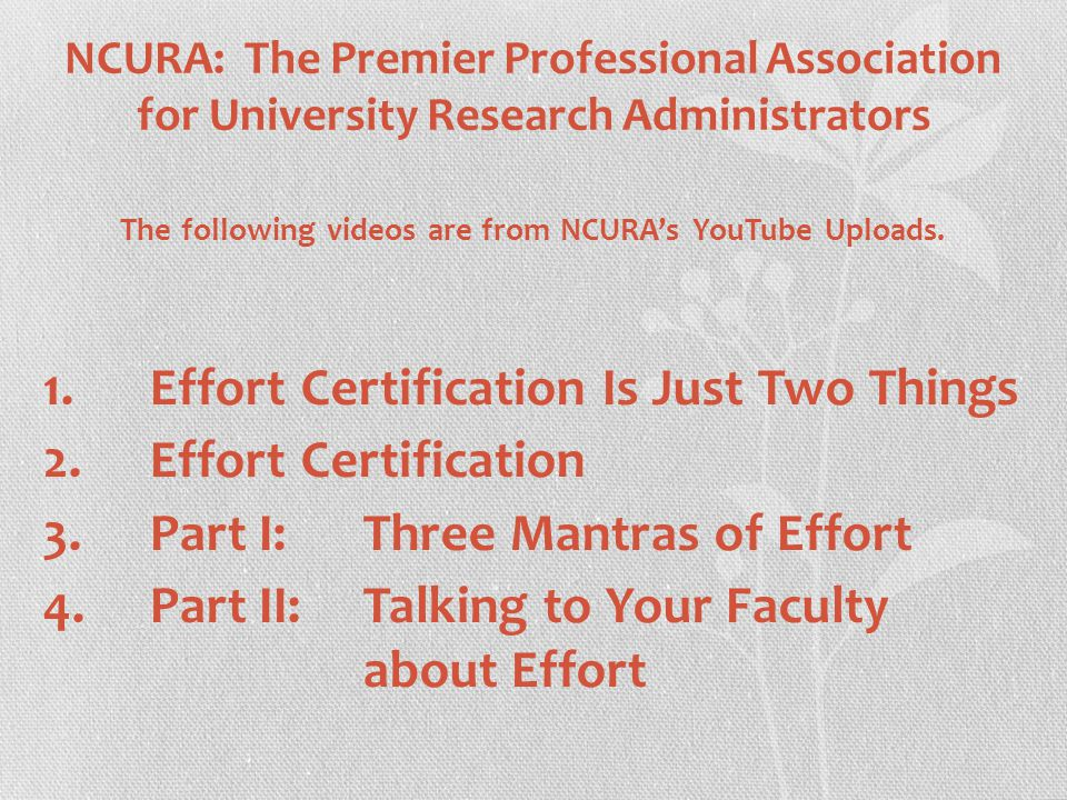 NCURA: The Premier Professional Association for University Research Administrators The following videos are from NCURA's YouTube Uploads.