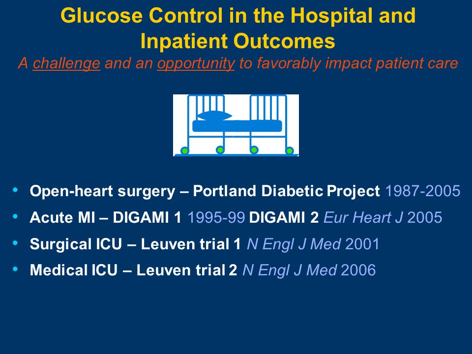 Glucose Control in the Hospital and Inpatient Outcomes A challenge and an opportunity to favorably impact patient care Open-heart surgery – Portland Diabetic Project 1987-2005 Acute MI – DIGAMI 1 1995-99 DIGAMI 2 Eur Heart J 2005 Surgical ICU – Leuven trial 1 N Engl J Med 2001 Medical ICU – Leuven trial 2 N Engl J Med 2006