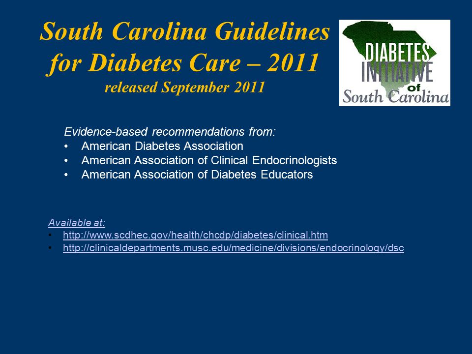 South Carolina Guidelines for Diabetes Care – 2011 released September 2011 Available at: http://www.scdhec.gov/health/chcdp/diabetes/clinical.htm http://clinicaldepartments.musc.edu/medicine/divisions/endocrinology/dsc Evidence-based recommendations from: American Diabetes Association American Association of Clinical Endocrinologists American Association of Diabetes Educators