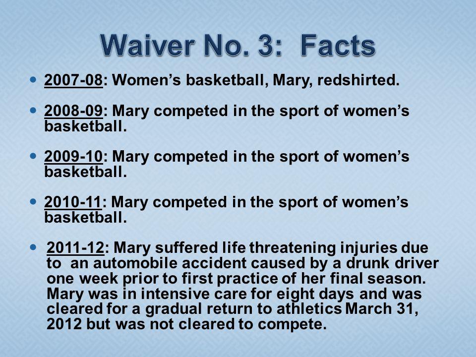 2007-08: Women's basketball, Mary, redshirted.
