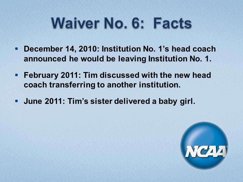  December 14, 2010: Institution No. 1's head coach announced he would be leaving Institution No.