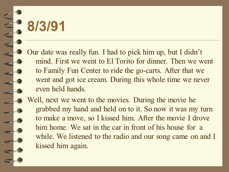 8/3/91 It was time for him to get out so I could go home.
