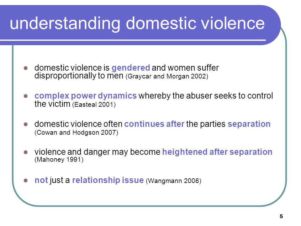 6 misunderstanding dv It's a relationship issue: …there's definitely that absolute approach that it's between the parents, that it's something about their relationship… No protective parent: …there's this assumption that both parents are problematic … it's better to have a system that works with the protective parent.