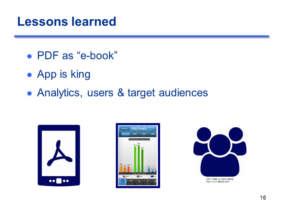 Lessons learned ● PDF as e-book ● App is king ● Analytics, users & target audiences 16 Icon made by Dave Gandy from www.flaticon.com