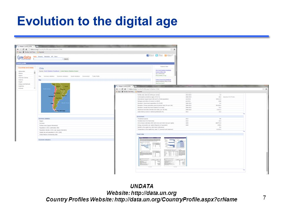 Evolution to the digital age 7 UNDATA Website: http://data.un.org Country Profiles Website: http://data.un.org/CountryProfile.aspx?crName