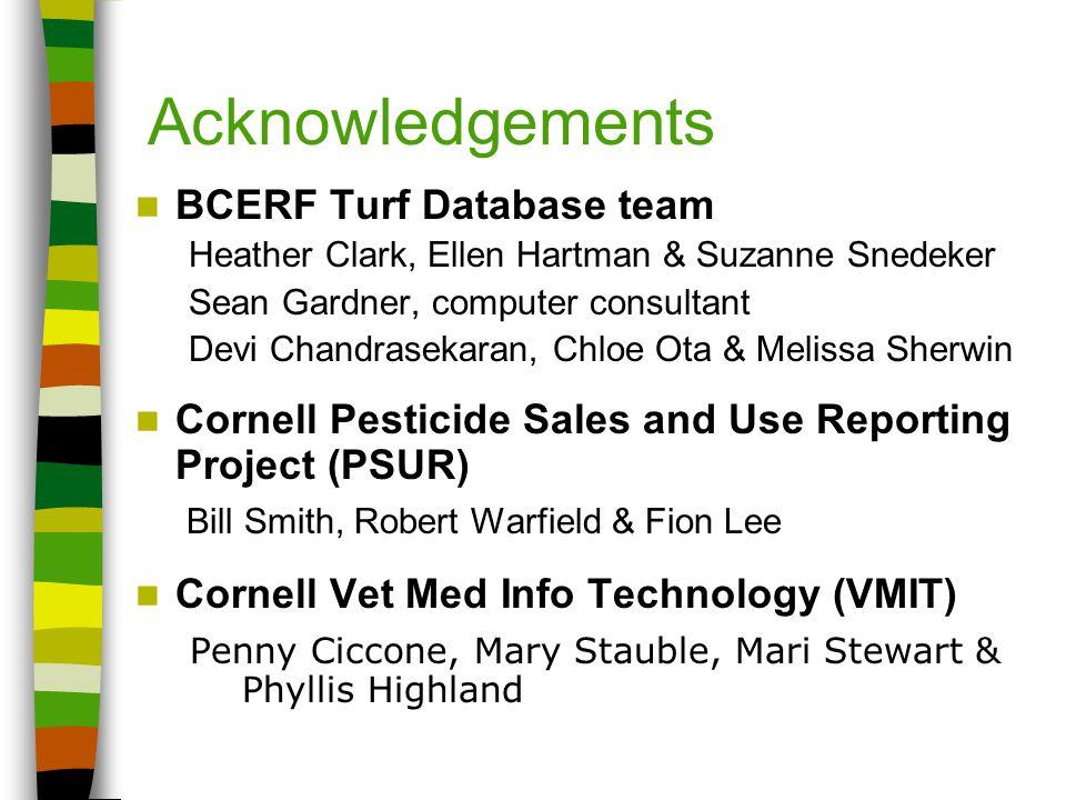 Acknowledgements BCERF Turf Database team Heather Clark, Ellen Hartman & Suzanne Snedeker Sean Gardner, computer consultant Devi Chandrasekaran, Chloe