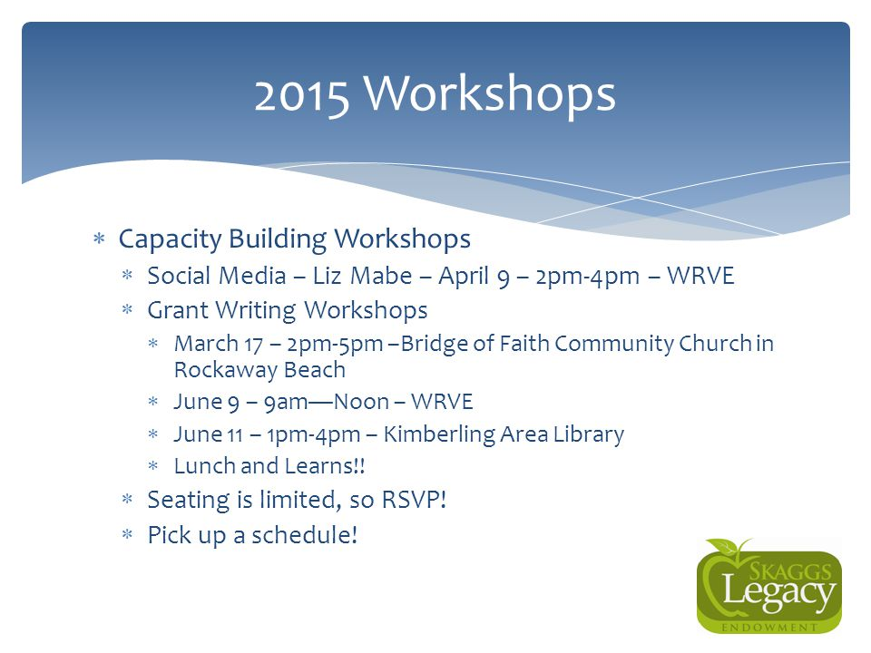 Questions? 2015 Workshops  Capacity Building Workshops  Social Media – Liz Mabe – April 9 – 2pm-4pm – WRVE  Grant Writing Workshops  March 17 – 2p