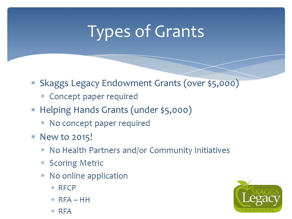  Skaggs Legacy Endowment Grants (over $5,000)  Concept paper required  Helping Hands Grants (under $5,000)  No concept paper required  New to 201