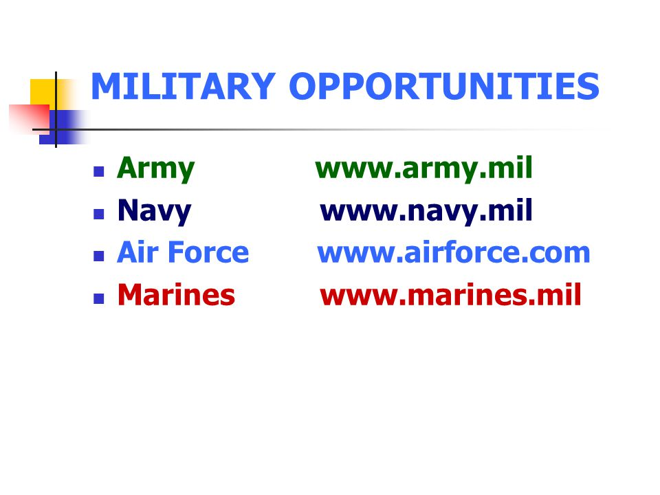MILITARY OPPORTUNITIES Army www.army.mil Navy www.navy.mil Air Force www.airforce.com Marines www.marines.mil