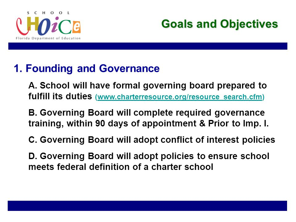 Goals and Objectives 1. Founding and Governance A.