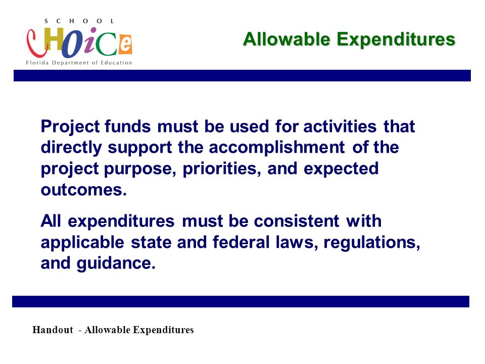 Allowable Expenditures Project funds must be used for activities that directly support the accomplishment of the project purpose, priorities, and expected outcomes.