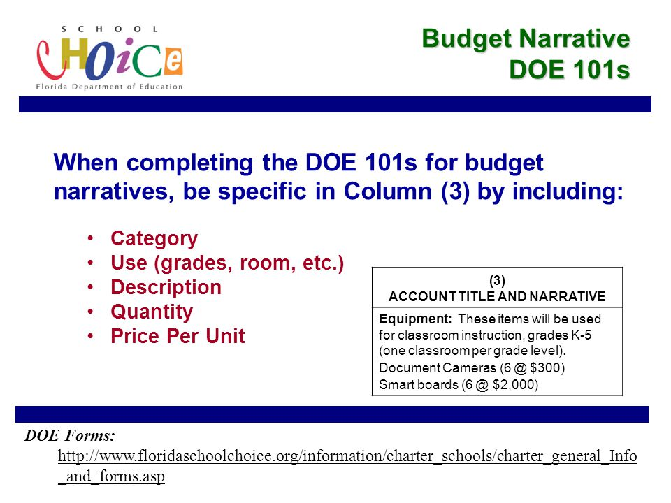 When completing the DOE 101s for budget narratives, be specific in Column (3) by including: Category Use (grades, room, etc.) Description Quantity Price Per Unit Budget Narrative DOE 101s (3) ACCOUNT TITLE AND NARRATIVE Equipment: These items will be used for classroom instruction, grades K-5 (one classroom per grade level).