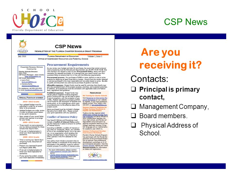 CSP News Are you receiving it.
