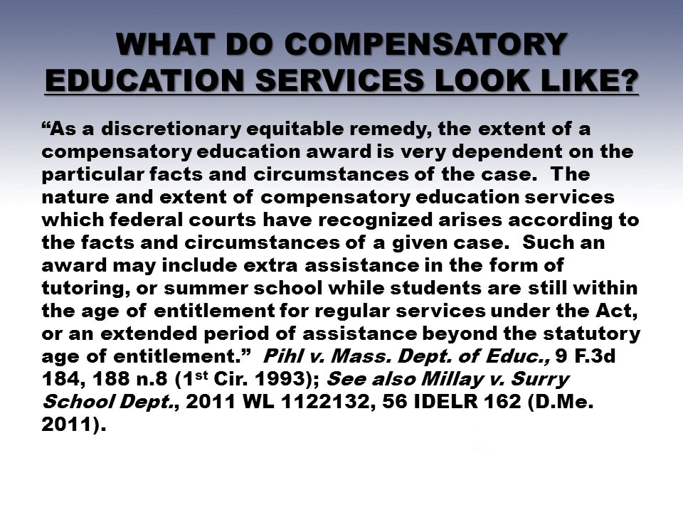 WHAT DO COMPENSATORY EDUCATION SERVICES LOOK LIKE.