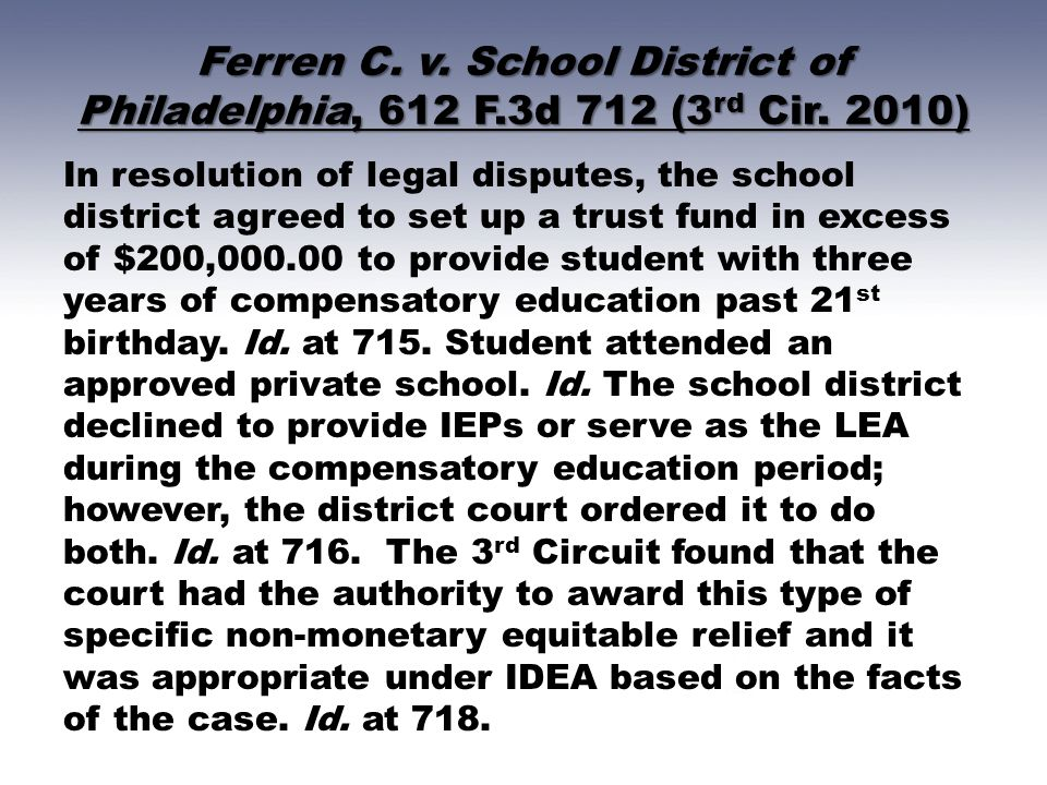 Ferren C. v. School District of Philadelphia, 612 F.3d 712 (3 rd Cir. 2010) In resolution of legal disputes, the school district agreed to set up a tr