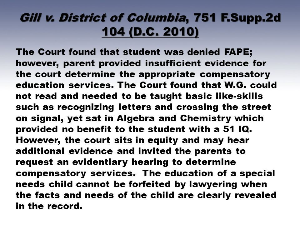Gill v.District of Columbia, 751 F.Supp.2d 104 (D.C.