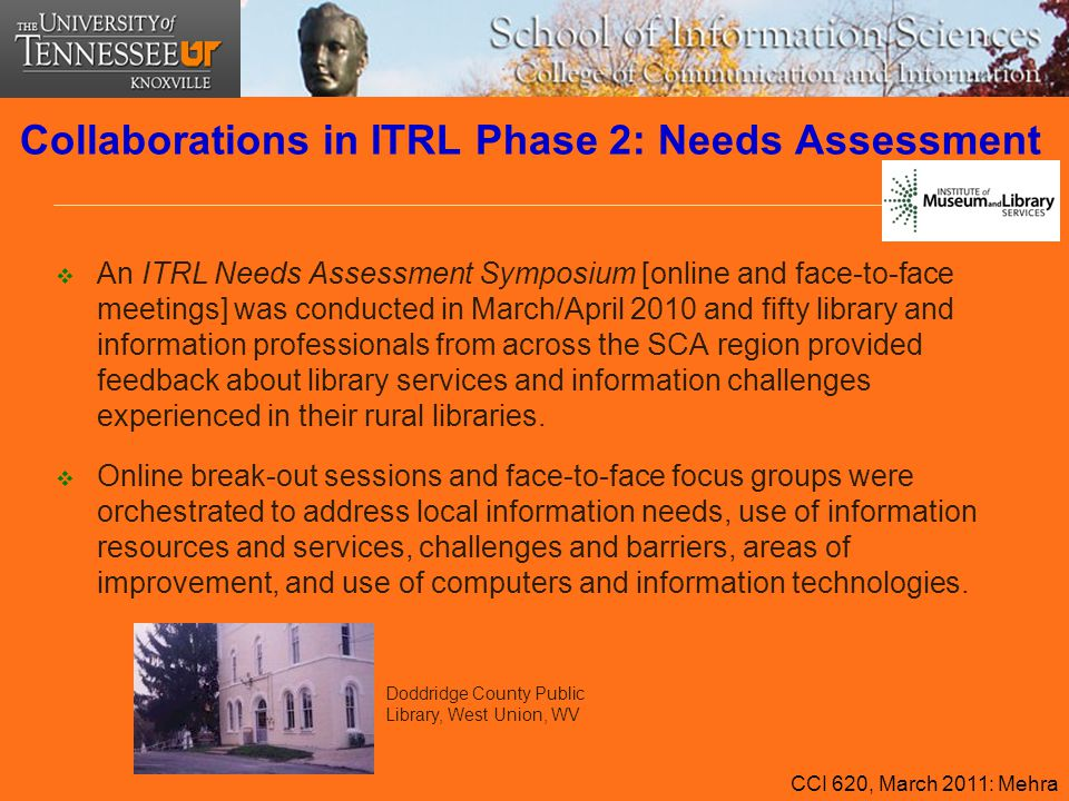 Collaborations in ITRL Phase 2: Needs Assessment  An ITRL Needs Assessment Symposium [online and face-to-face meetings] was conducted in March/April