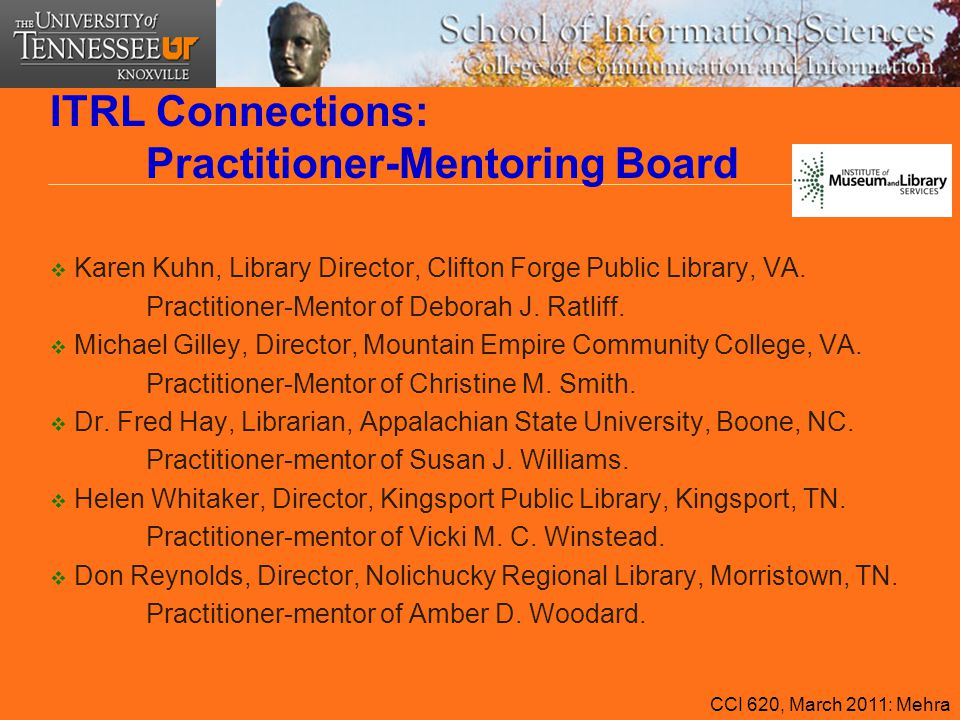 ITRL Connections: Practitioner-Mentoring Board  Karen Kuhn, Library Director, Clifton Forge Public Library, VA. Practitioner-Mentor of Deborah J. Rat