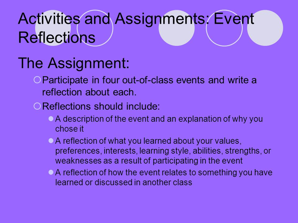Activities and Assignments: Event Reflections The Assignment:  Participate in four out-of-class events and write a reflection about each.  Reflectio