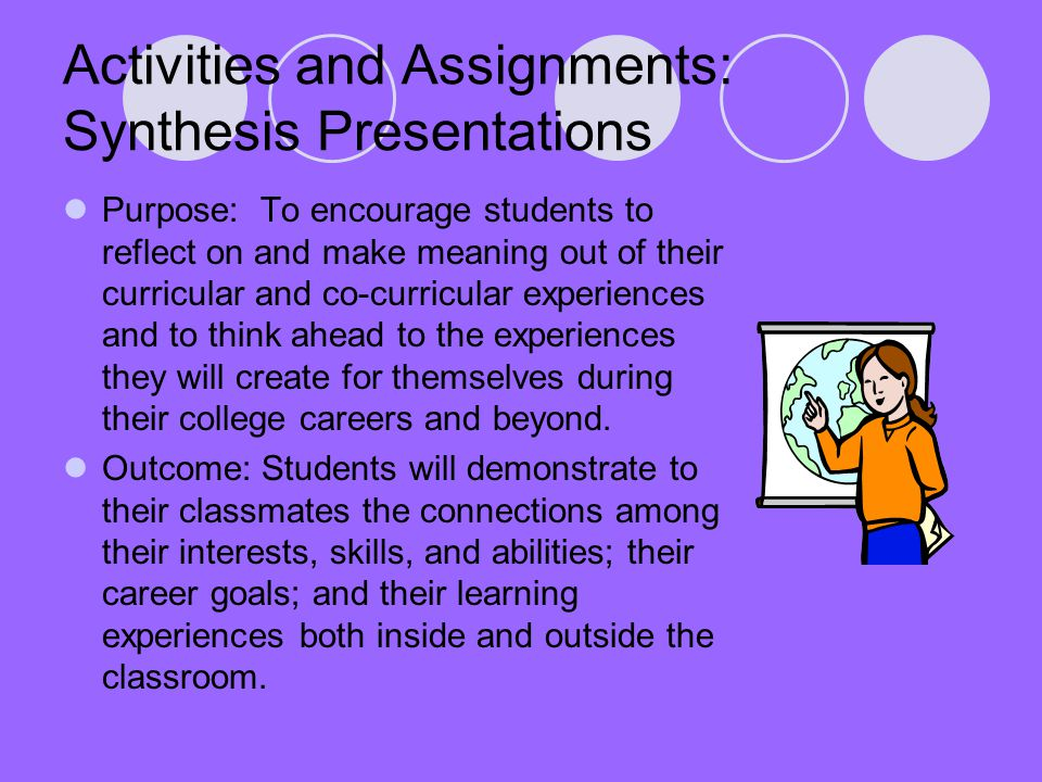 Activities and Assignments: Synthesis Presentations Purpose: To encourage students to reflect on and make meaning out of their curricular and co-curricular experiences and to think ahead to the experiences they will create for themselves during their college careers and beyond.