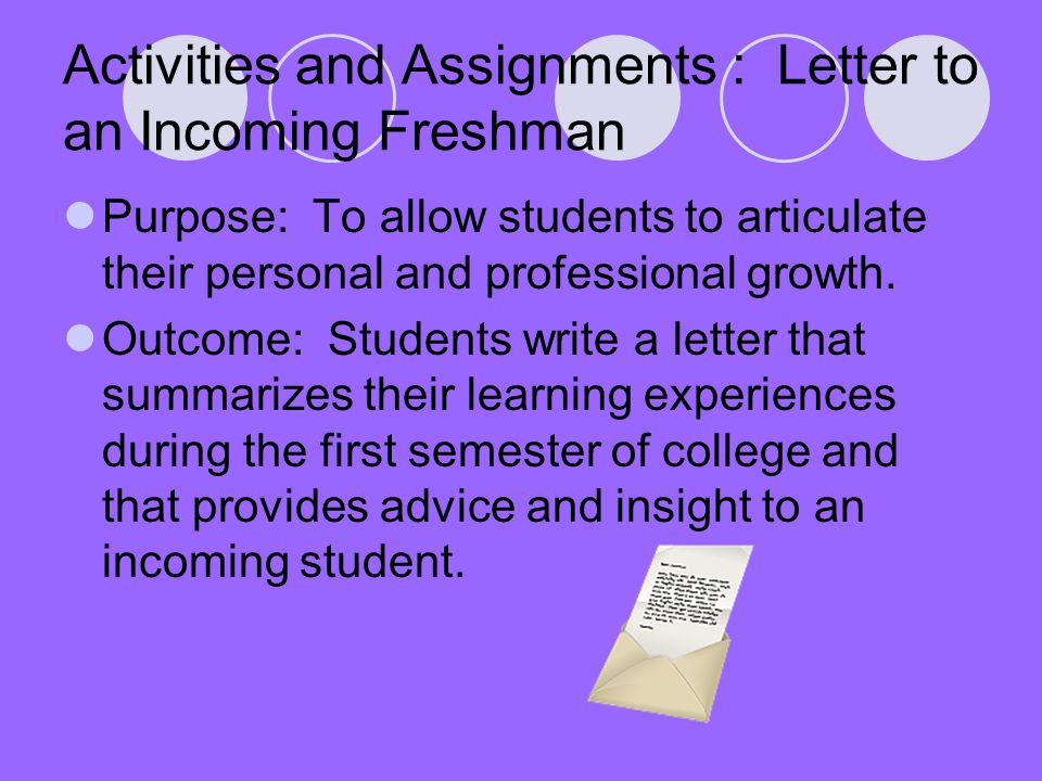 Activities and Assignments : Letter to an Incoming Freshman Purpose: To allow students to articulate their personal and professional growth.