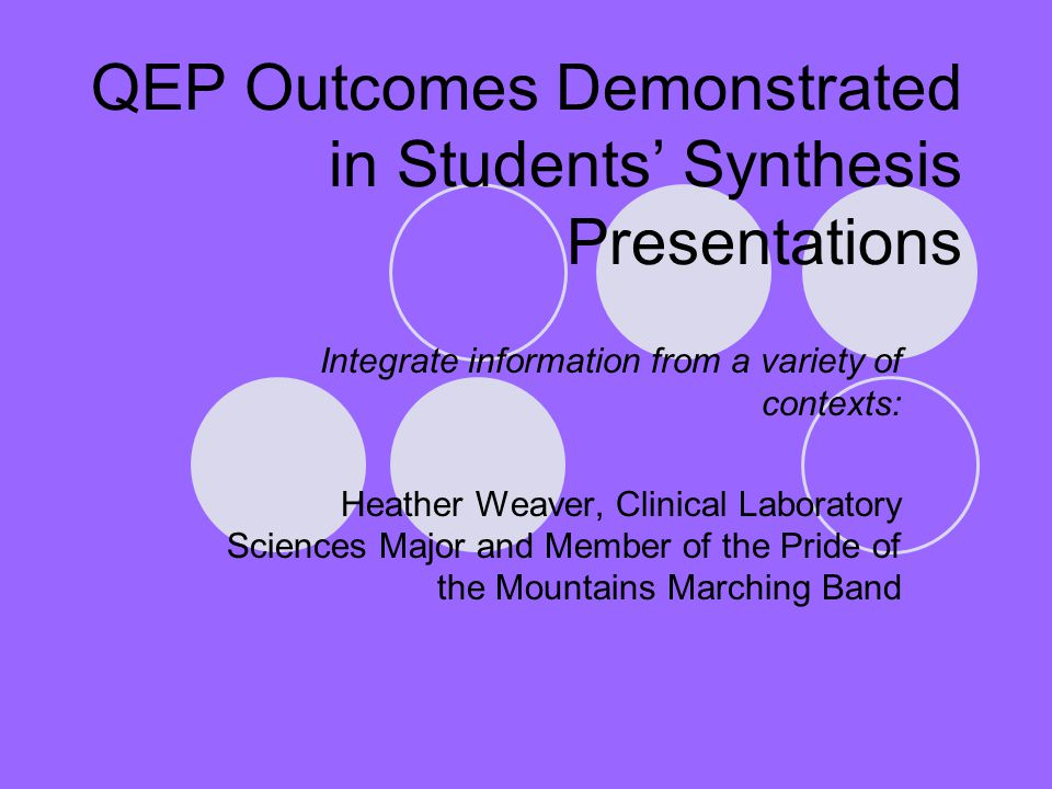 QEP Outcomes Demonstrated in Students' Synthesis Presentations Integrate information from a variety of contexts: Heather Weaver, Clinical Laboratory S
