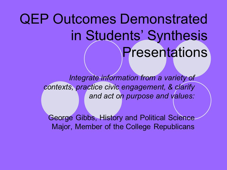 QEP Outcomes Demonstrated in Students' Synthesis Presentations Integrate information from a variety of contexts, practice civic engagement, & clarify and act on purpose and values: George Gibbs, History and Political Science Major, Member of the College Republicans
