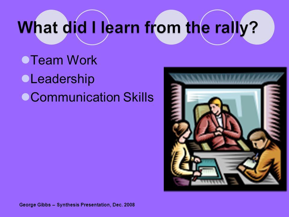 Team Work Leadership Communication Skills George Gibbs – Synthesis Presentation, Dec. 2008