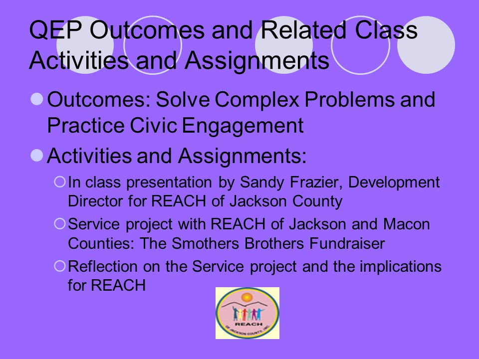 QEP Outcomes and Related Class Activities and Assignments Outcomes: Solve Complex Problems and Practice Civic Engagement Activities and Assignments:  In class presentation by Sandy Frazier, Development Director for REACH of Jackson County  Service project with REACH of Jackson and Macon Counties: The Smothers Brothers Fundraiser  Reflection on the Service project and the implications for REACH
