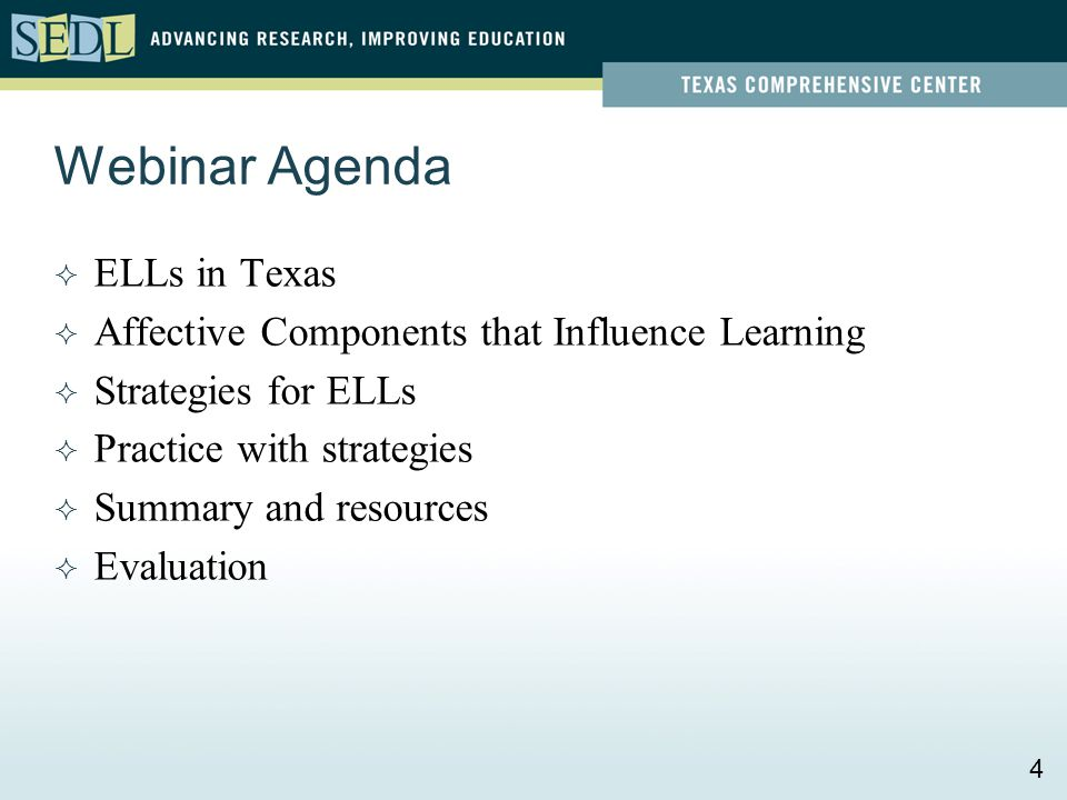 Webinar Agenda  ELLs in Texas  Affective Components that Influence Learning  Strategies for ELLs  Practice with strategies  Summary and resources
