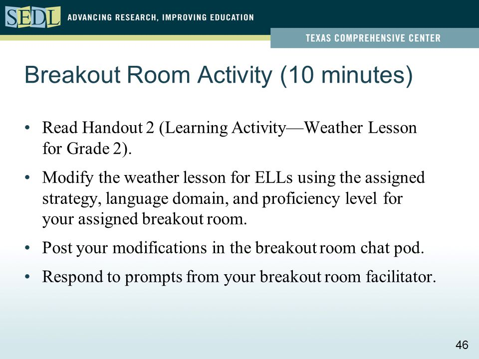 Read Handout 2 (Learning Activity—Weather Lesson for Grade 2). Modify the weather lesson for ELLs using the assigned strategy, language domain, and pr