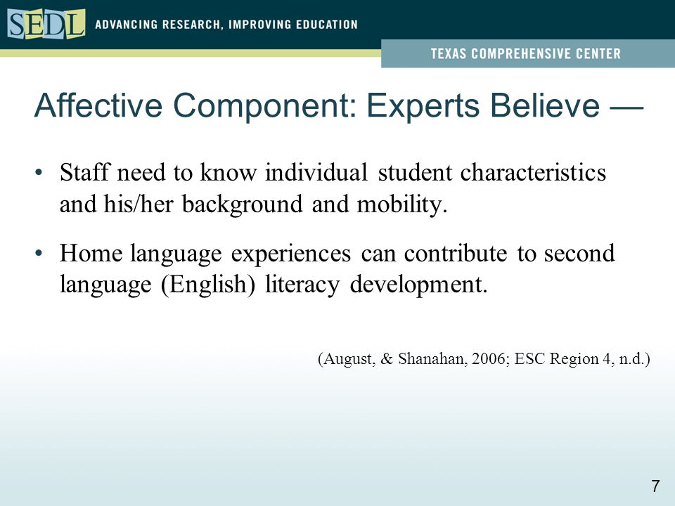 Affective Component: Experts Believe — Staff need to know individual student characteristics and his/her background and mobility. Home language experi