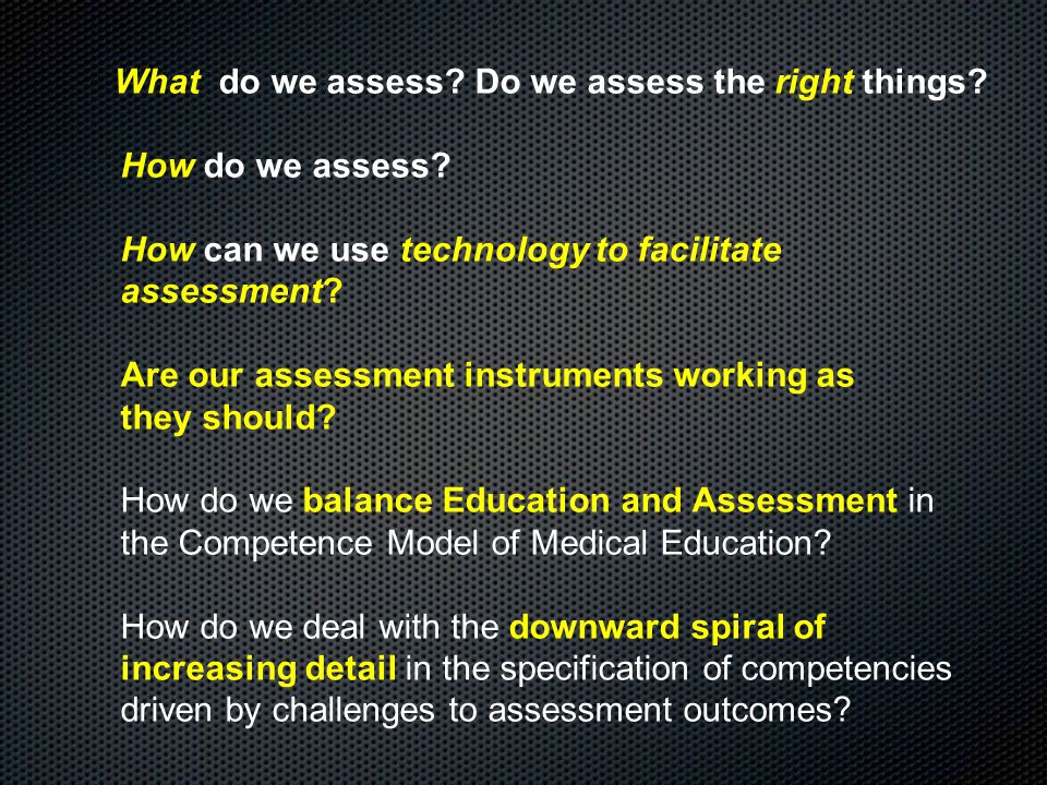 What do we assess. Do we assess the right things.