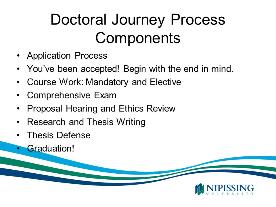 Doctoral Journey Process Components Application Process You've been accepted! Begin with the end in mind. Course Work: Mandatory and Elective Comprehe
