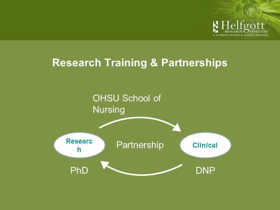 Research Training & Partnerships OHSU School of Nursing Partnership PhD Researc h Clinical DNP