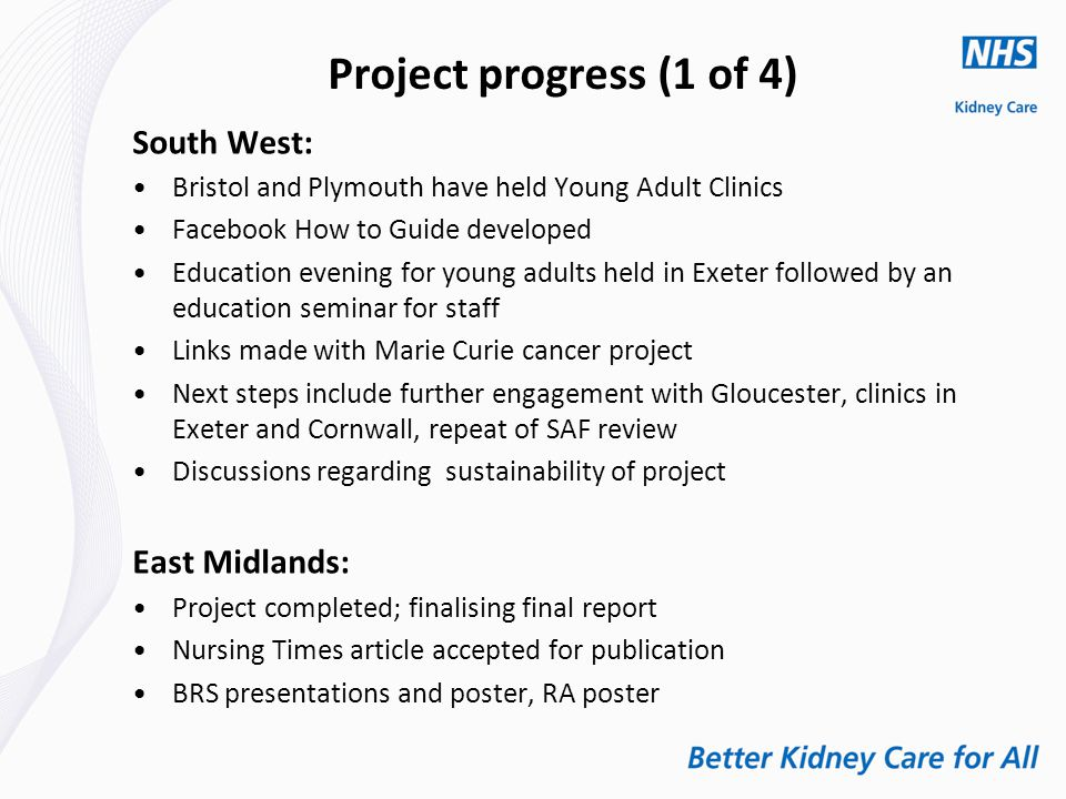 Project progress (1 of 4) South West: Bristol and Plymouth have held Young Adult Clinics Facebook How to Guide developed Education evening for young adults held in Exeter followed by an education seminar for staff Links made with Marie Curie cancer project Next steps include further engagement with Gloucester, clinics in Exeter and Cornwall, repeat of SAF review Discussions regarding sustainability of project East Midlands: Project completed; finalising final report Nursing Times article accepted for publication BRS presentations and poster, RA poster