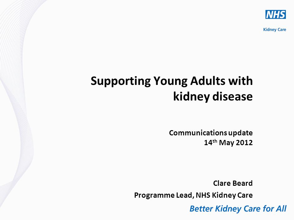 Supporting Young Adults with kidney disease Communications update 14 th May 2012 Clare Beard Programme Lead, NHS Kidney Care