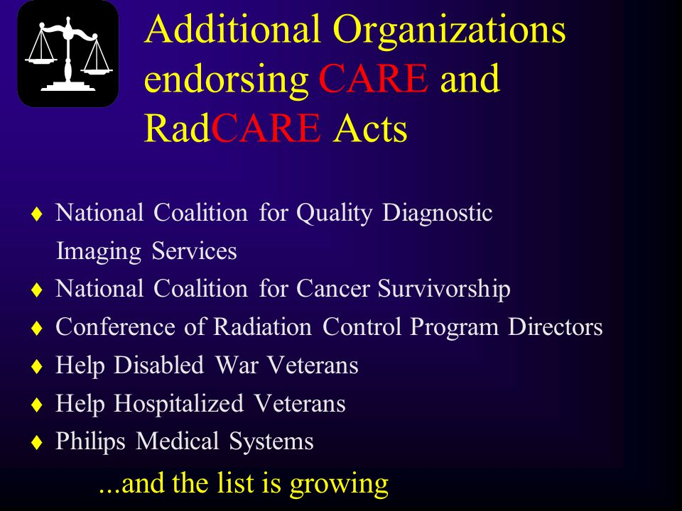 Additional Organizations endorsing CARE and RadCARE Acts t National Coalition for Quality Diagnostic Imaging Services t National Coalition for Cancer