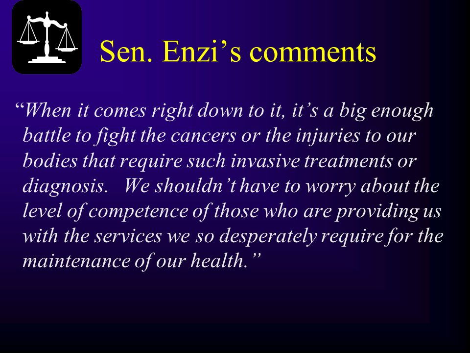 """Sen. Enzi's comments """"When it comes right down to it, it's a big enough battle to fight the cancers or the injuries to our bodies that require such in"""