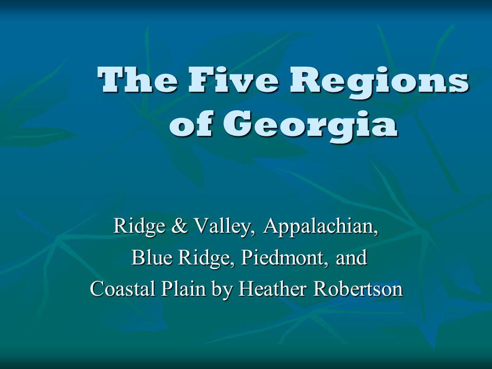 The Five Regions of Georgia Ridge & Valley, Appalachian, Blue Ridge, Piedmont, and Blue Ridge, Piedmont, and Coastal Plain by Heather Robertson