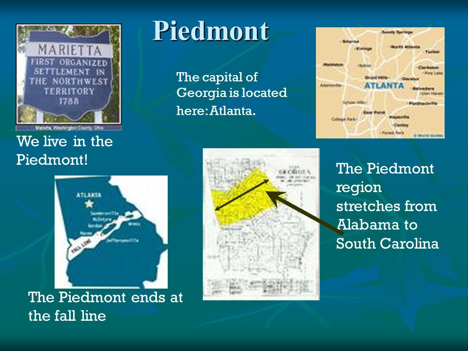 Piedmont We live in the Piedmont! The capital of Georgia is located here: Atlanta. The Piedmont region stretches from Alabama to South Carolina The Pi